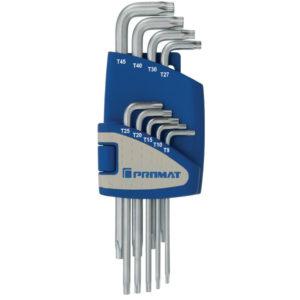 Winkelschraubendrehersatz, 9-teilig, T9 – T45 Kunststoffhalter, Promat