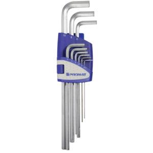 Sechskantwinkelschraubendrehersatz 9-teilig, SW 1,5-10 mm extralang, S2-Stahl, Promat