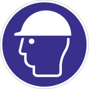 Gebotszeichen, Kopfschutz benutzen, Kunststoff oder selbstklebende Folie