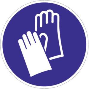 Gebotszeichen, Handschutz benutzen, Kunststoff oder selbstklebende Folie