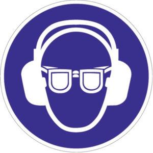 Gebotszeichen, Gehör-/Augenschutz benutzen, Kunststoff oder selbstklebende Folie