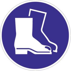 Gebotszeichen, Fußschutz benutzen, Kunststoff oder selbstklebende Folie