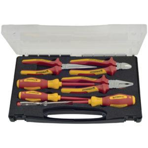 Zangen-/Werkzeugsatz 7-teilig Mehrkomponentenhüllen Kunststoffkoffer VDE PROMAT